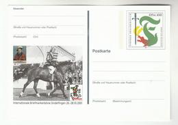 2001 GERMANY Postal STATIONERY CARD Illus HORSE International STAMP FAIR SIndelfingen DRAGON Stramps  Philately Cover - Horses