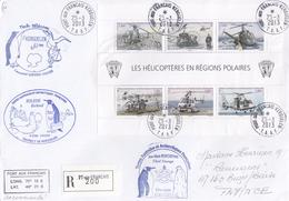 T.A.A.F.  SUR LETTRE.  LES HELICOPTERES EN REGIONS POLAIRES. 25 3 2013. PORT-AUX-FRANCAIS-KERGUELEN  4 CACHETS/ 6000 - Hubschrauber