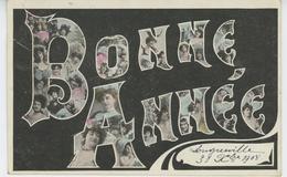 """FEMMES - FRAU - LADY - Jolie Carte Fantaisie Femmes Artistes 1900 Dans Lettres De """"Bonne Année"""" écrite à LONGUEVILLE - Nouvel An"""