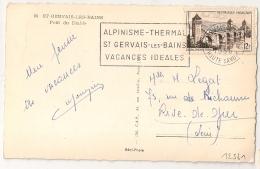 ST GERVAIS LES BAINS Haute Savoie Sur CP. 1956. - Marcophilie (Lettres)