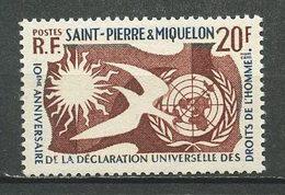 SPM MIQUELON  1958 N° 358 ** Neuf = MNH Superbe Cote 4 € Droits De L' Homme Oiseaux Birds - St.Pedro Y Miquelon