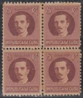 1917-223 CUBA REPUBLICA. 1917-28. 8c IGNACIO AGRAMONTE. BLOCK 4 GOMA ORIGINAL. - Cuba