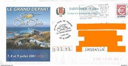 Tour De France 2001 PAP + Cachet Saint Omer Côte D'Opale Grand Départ Vélo Cycliste Sport Cyclisme - Wielrennen