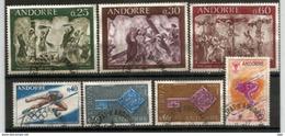 Année Complète 1968, 7 Timbres Oblitérés, Cachets Ronds, 1 ère Qualité - Andorre Français