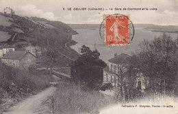 LE CELLIER  La Gare De Clermont Et La LOIRE CIRCULE TIMBRE 1911 - Le Cellier