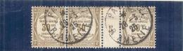 France 1905 Millesime 05 Timbre Taxe N= 46 Côte Dallay 85€ En Oblitéré - Bande De 3 (charniere à Decoller) - Millésimes