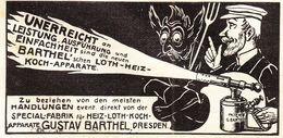 Original-Werbung/ Anzeige 1901 - BARTHEL'S LÖT- HEIZ- UND KOCHAPPARATE / DRESDEN - Ca. 80 X 45 Mm - Publicités