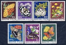 HUNGARY 1974 Butterflies Set MNH / **.  Michel 2994-3000 - Butterflies