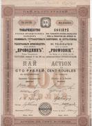 EMPRUNT RUSSE SOCIETE PROWODNIK ACTION DE 100 ROUBLES CAOUTHOUC GUTTA PERCHA TELEGRAPHIE 1913 - Actions & Titres