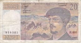 BILLETE DE FRANCIA DE 20 FRANCS DEL AÑO 1990 SERIE H  (BANKNOTE) CLAUDE DEBUSSY - 20 F 1980-1997 ''Debussy''