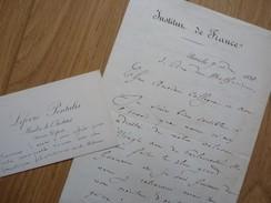 LEFEVRE PONTALIS (1830-1903) Membre INSTITUT. Maire TAVERNY. Avesnes. Autographe - Autografi