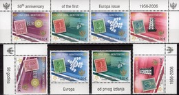 EUROPA 50 Jahre CEPT 2006 Montenegro 108/1+ 4-ZD ** 27€ Stamp On Stamps History Philatelic Se-tenant Bf YUGOSLAVIJA - Montenegro