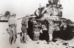 Desert De Libye Soldats Allemands Et Char Capture Aux Allies WWII WW2 Ancienne Photo 1941