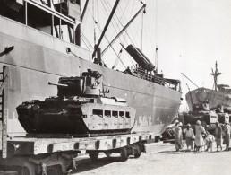 Egypte? Debarquement De Tanks Britanniques Protection De Suez WWII WW2 Ancienne Photo 1941