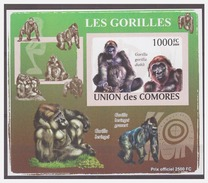 0089 Comores 2009  Aap Monkey Ape Gorilla S/S MNH Imperf - Apen