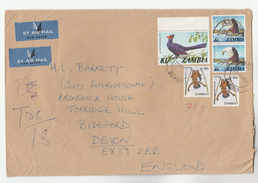 1981 ZAMBIA COVER Stamps 1k TURACO 2x 4n EAGLE 2x 30n With T28/17 Tax UNDERPAID To GB, Airmail Label Birds Bird - Zambia (1965-...)