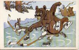 16 Animaux Humanisés, Ours Lapin Patinage Hockey Sur Glace (russe) - Geklede Dieren