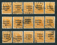 Germany, Soviet Zone 1948, MiNr 191 (from Set MiNr 182-197); Used (2) - Lot Of 15 Stamps - Zone Soviétique