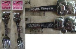 Hello Kitty :  2 Small Metallic Forks - Gabeln