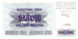 BOSNIE - HERZEGOVINE   1,000,000 Dinara   1/9/1993 (old Date - 1/7/1992)   P. 35a   UNC - Bosnia Erzegovina