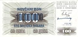 BOSNIE - HERZEGOVINE   100,000,000 Dinara   10/11/1993 (old Date - 1/7/1992)   P. 37a - Bosnia Erzegovina