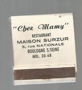 G-I-E , Tabac , Boites , Pochette D'ALLUMETTES, Publicité, 2 Scans , Restaurant CHEZ MAMY , 92 , BOULOGNE SUR SEINE - Matchboxes