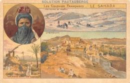 ALGERIE  SAHARA  CARTE DESSINEE  TROIS VUES  EDITION SOLUTION PAUTAUBERGE  PUBLICITE - Altri
