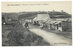 CPA - PERROS GUIREC, TRESTRAO, ROUTE DE LA PLAGE, LES MAGASINS - Cotes D' Armor 22 - Animée, Commerces Hotel, Patisserie - Perros-Guirec