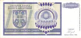 BOSNIE - HERZEGOVINE   10 Million Dinara   1993   P. 144a - Bosnia Erzegovina