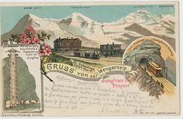 Gruss Von Der Wengernalp Jungfrau Bahn Project  Gare Train Litho Schlumpf 1898 Defaut - BE Berne