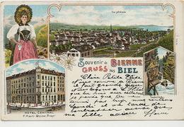 Souvenir Bienne Gruss Aus Biel Litho Hotel Central F. Marti Steiner  Litho Guggenheim 416 1904 - BE Berne