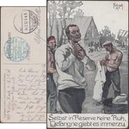 Allemagne 1917. Carte De Franchise Militaire. Lanciers Ajustant Leur Chemise - Textile