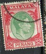 Malaya Penang 1949  $2.00 King George Issue #21  Used - Penang