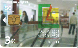PHONECARDS-- PORTUGAL-- TELECOM CARD PT 50 IMPULSOS-- LOJA CIDADÃO DO PORTO - Portugal