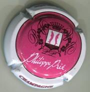 CAPSULE-CHAMPAGNE PRIE Philippe N°01 Rosé Foncé Contour Blanc Texte Blanc-NR - Champagnerdeckel