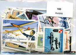 Lot 100 Timbres Thème Avions - Vrac (max 999 Timbres)