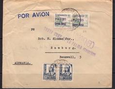 España 1938. Canarias. Carta De Santa Cruz De La Palma A Hamburgo. Censura Invertida. - Marcas De Censura Nacional