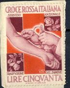 Erinnofili, Italia 1950,Croce Rossa Italiana Servizio Nazionale Trasfusione Del Sangue / Su Frammento - Unclassified