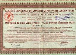 VP9724 - ARGENTEUIL 1928 - Action - Société Générale De Construction PARIS - ARGENTEUIL - Industrie