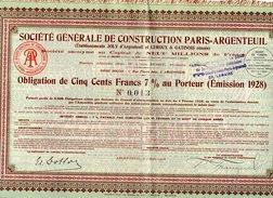 VP9725 - ARGENTEUIL 1928 - Action - Société Générale De Construction PARIS - ARGENTEUIL - Industrie