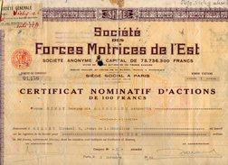 VP9726 - PARIS 1943 - Action - Société Des Forces Motrices De L'Est - Electricité & Gaz