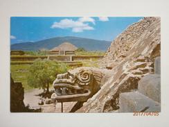 Postcard Mexico San Juan Teotihuacan Serpent Head & Alfarda With Sun & Moon Pyramids At The Back  My Ref B11041 - Mexico