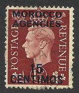 Morocco Agencies, 15 C. 1937, Sc # 85, Used. - Great Britain (former Colonies & Protectorates)
