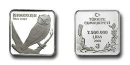 AC - EURASIAN SCOPS OWL OTUS SCOPS COMMEMORATIVE SILVER BIRDS OF TURKEY SERIES #9 TURKEY 2001 UNCIRCULATED PROOF - Turkey