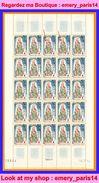ANDORRA Andorre Français **LUXE 1964 FEUILLE Entière De 25 Timbres P 172 Compris 2 X 172A épaule Rouge,             La P - Andorra Francesa