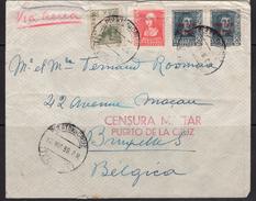 España 1939. Canarias. Carta De Puerto De La Cruz, Tenerife A Bruselas. Censura. - Marcas De Censura Nacional