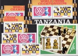 Schach/Rotary 1986 Tanzania 313/4,ER,ZD,Block 54+Sao Tome Bl.60 **/o 42€ Figur Bloque Hoja Ss Blocs Sheets Bf Chess - Chess