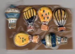RARE Série Complète 4 Fèves Biscuit Verni + 2 Fèves Variantes LES MONTGOLFIERES - ARGUYDAL 1991 - Sports