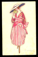 Mauzan - Woman In Dress / Postcard Circulated, 2 Scans - Mauzan, L.A.