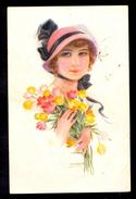 Usabo - Woman With Flowers / Erkal No. 338/4 / Postcard Circulated, 2 Scans - Künstlerkarten